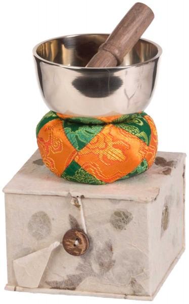 Singing bowl, gift set, silver, cast metal Ø 8cm