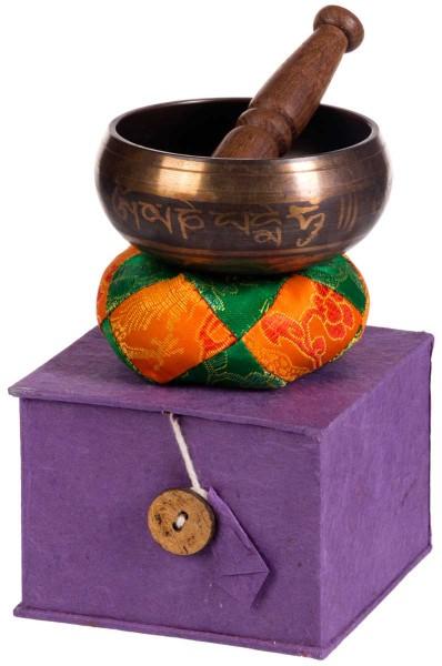 Singing bowl, gift set, varnished, ornamented, Ø 9,5cm
