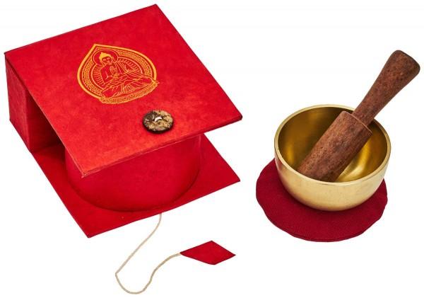 Singing bowl, gift set, silver, cast metal, Ø 7cm