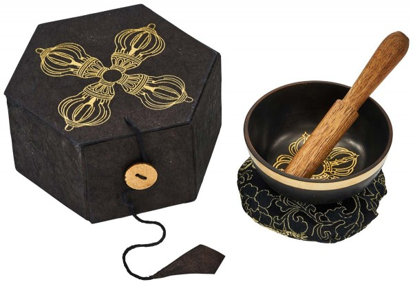 Singing bowl, gift set cast metal, Ø 7cm, black coated, ornamented
