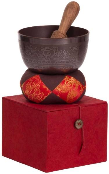 Singing bowl, gift set, varnished, ornamented, Ø 12,5cm