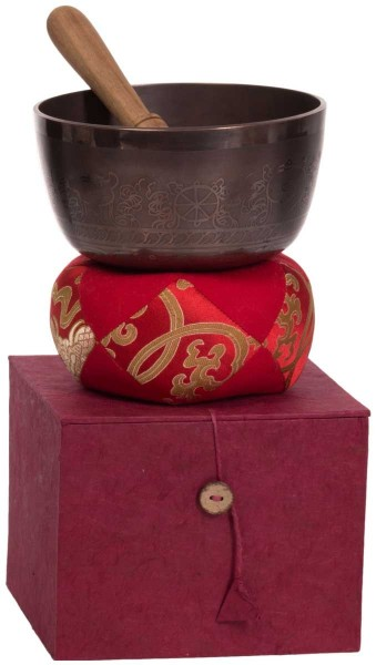 Singing bowl, gift set, varnished, ornamented, Ø 15cm