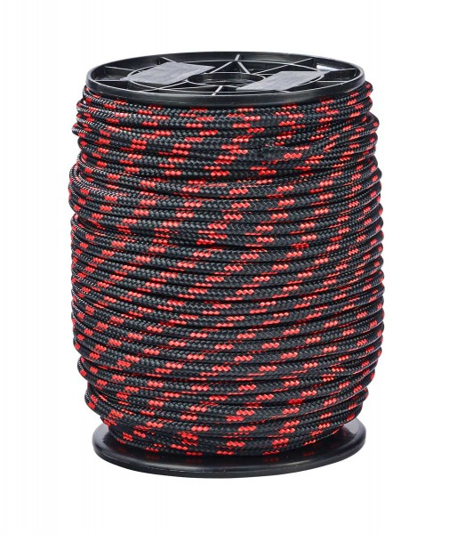 Rope, Ø 5mm, red-black, per meter