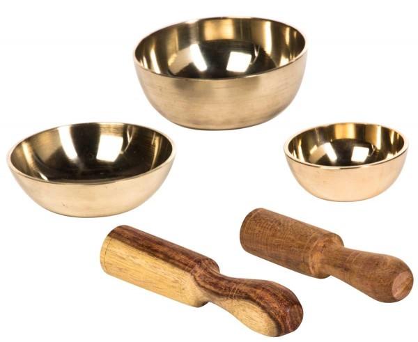 Klangschalen, 3er-Set, gegossen, Ø 5, 7 & 7,7cm